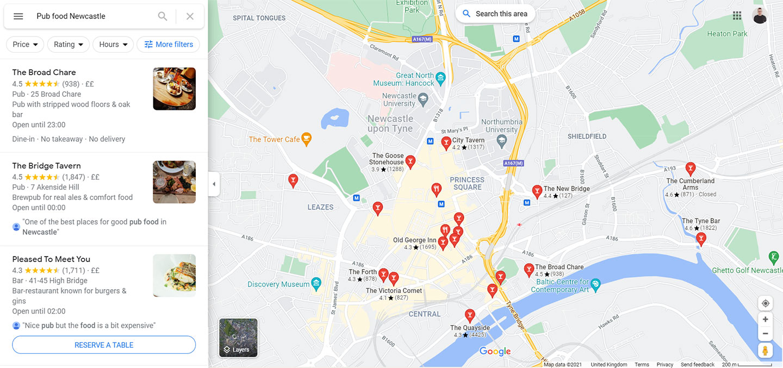 Google Maps Food Search